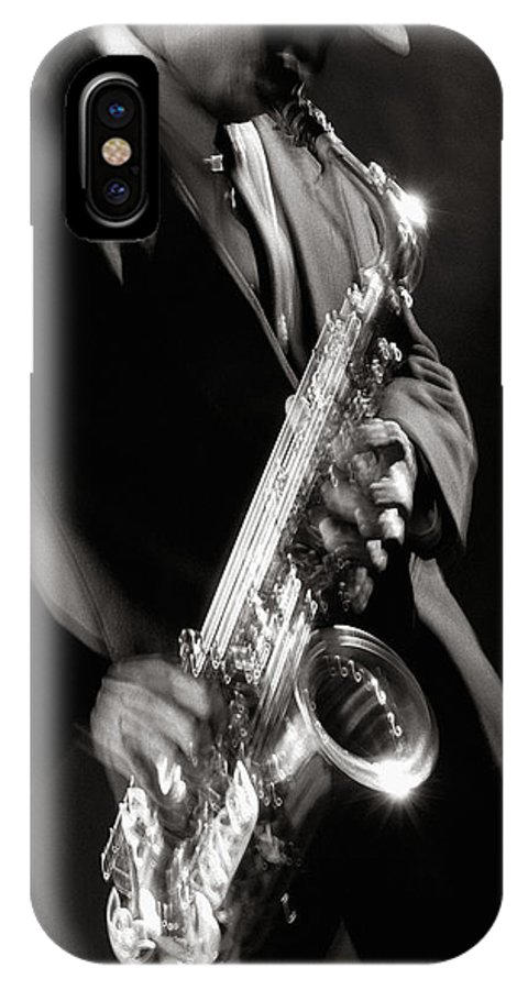 Sax IPhone X Case featuring the photograph Sax Man 1 by Tony Cordoza