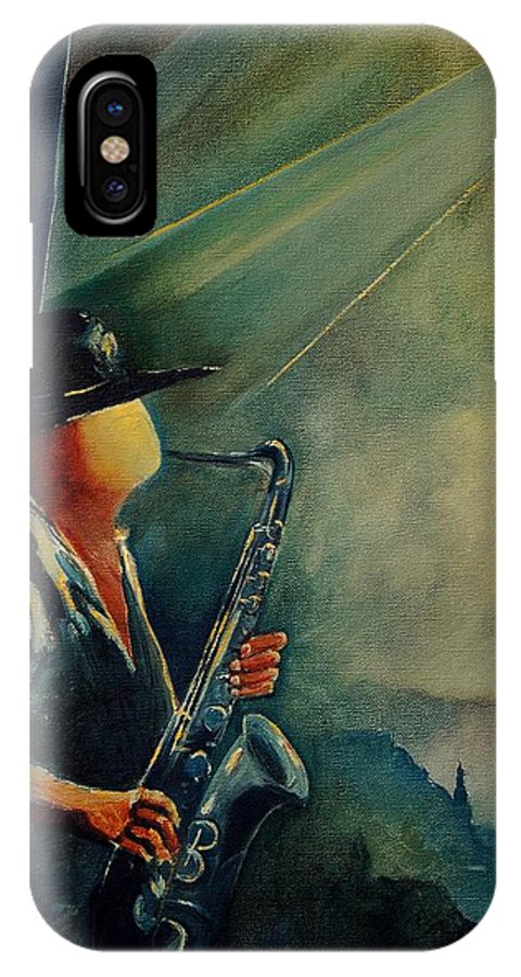 Music IPhone X Case featuring the painting Sax Player by Pol Ledent