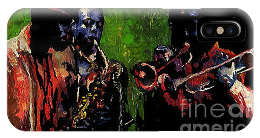 Jazz IPhone X Case featuring the painting Saxophon Players. by Yuriy Shevchuk