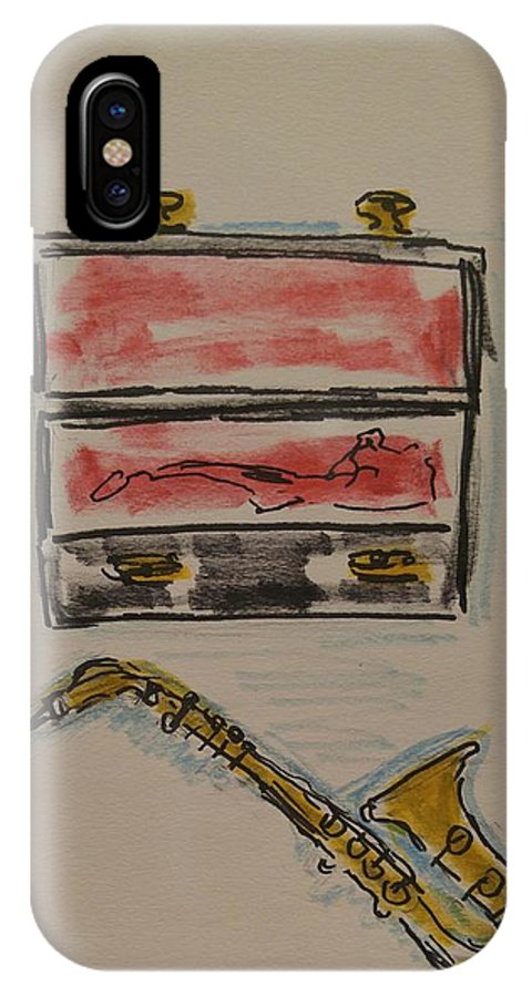 Saxophone IPhone X Case featuring the painting Saxophone by Geraldine Myszenski