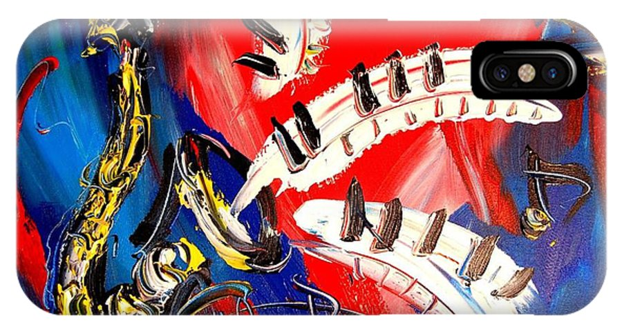 Piano Saxophone IPhone X / XS Case featuring the mixed media Saxophone by Mark Kazav