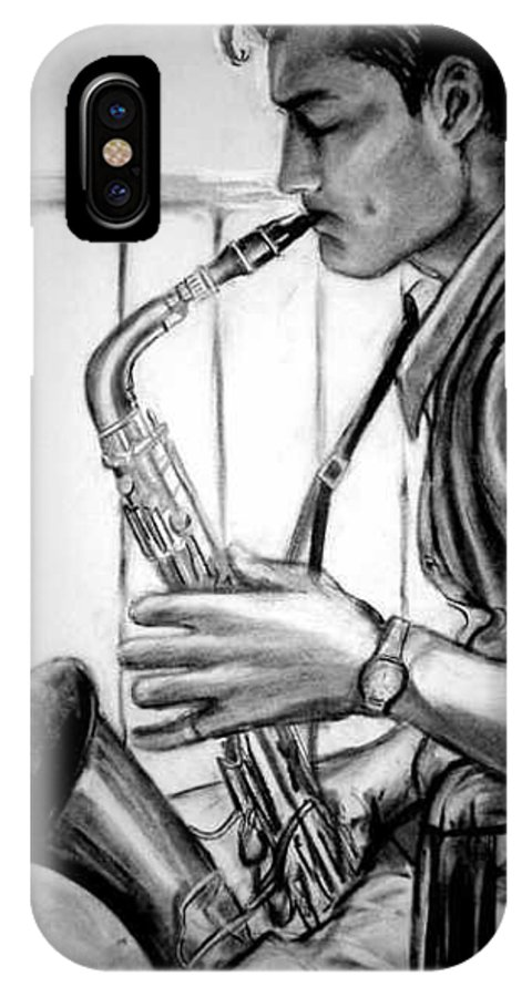 Handsome Man IPhone X Case featuring the drawing Saxophone Player by Laura Rispoli