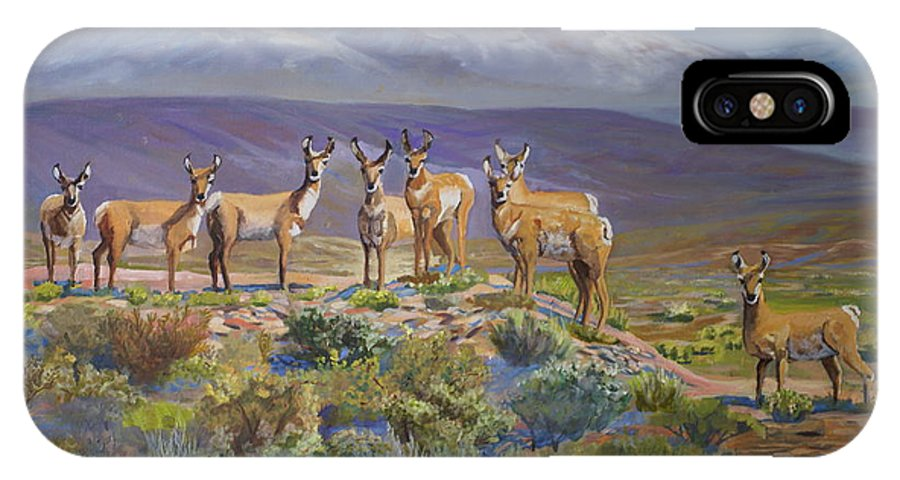 Antelope IPhone X Case featuring the painting Say Cheese Antelope by Heather Coen