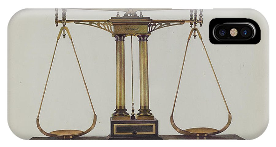 IPhone X Case featuring the drawing Scales For Weighing Gold by Robert W.r. Taylor
