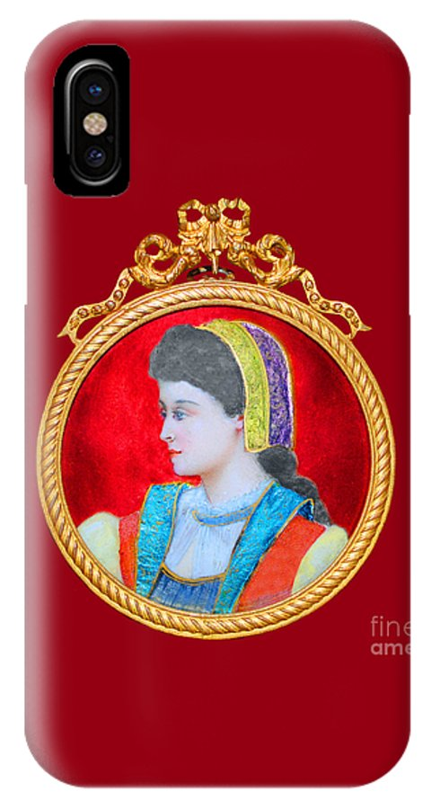 French IPhone X Case featuring the painting Scandinavian Maiden Limoge by Jost Houk