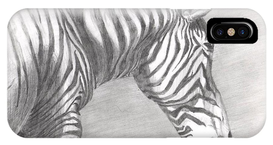 Zebra IPhone X Case featuring the drawing Scanning The Horizon by Andrew Gillette