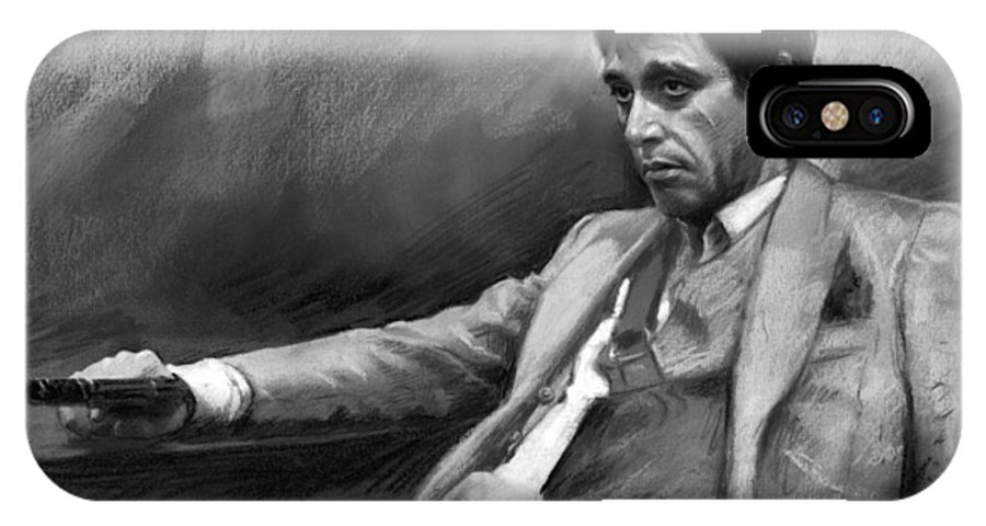 Al Pacino IPhone X Case featuring the pastel Scarface 2 by Ylli Haruni