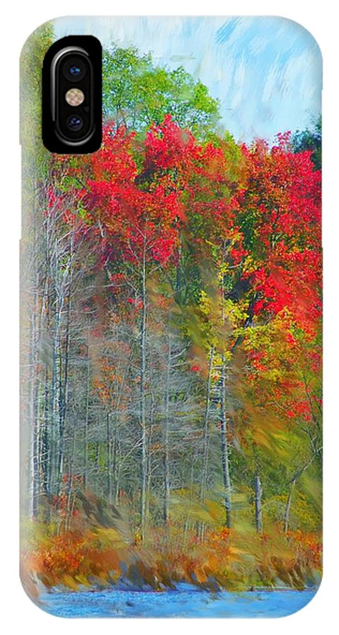Landscape IPhone Case featuring the digital art Scarlet Autumn Burst by David Lane