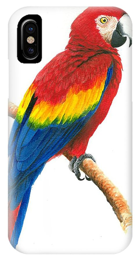 Chris Cox IPhone X Case featuring the painting Scarlet Macaw by Christopher Cox