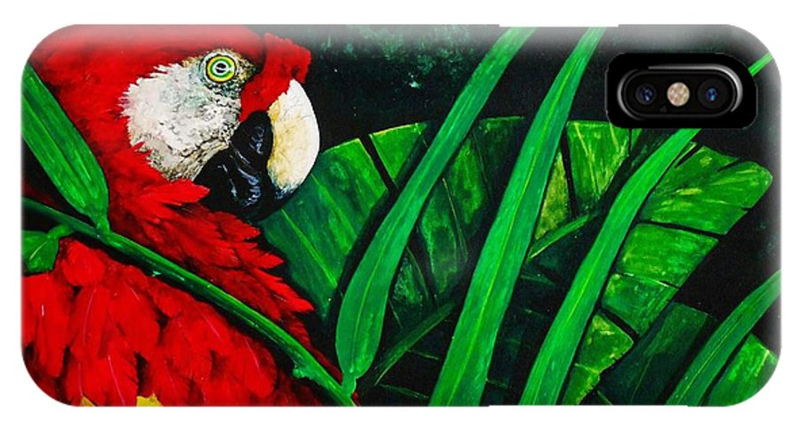 Birds IPhone X Case featuring the painting Scarlet Macaw Head Study by Dana Newman