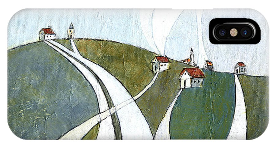 Painting IPhone X Case featuring the painting Scattered Houses by Aniko Hencz