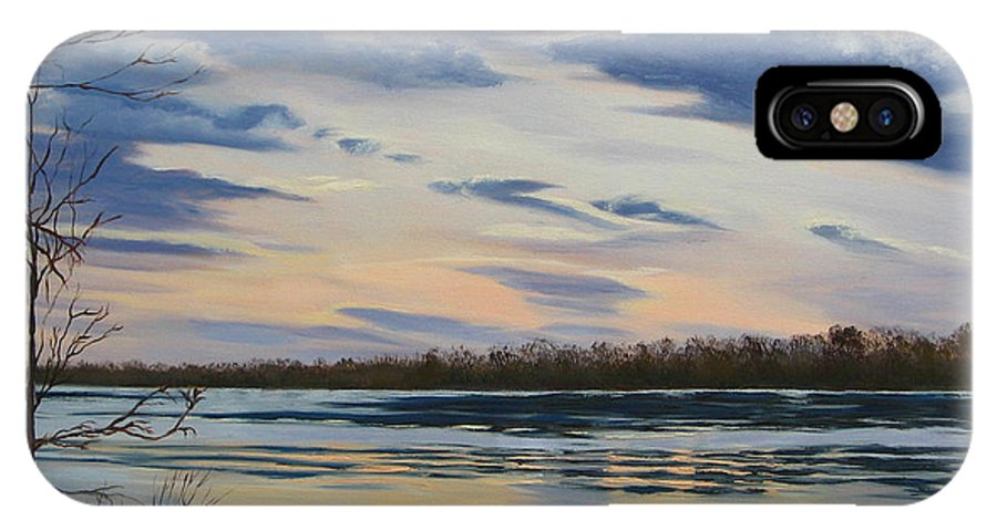Clouds IPhone X / XS Case featuring the painting Scenic Overlook - Delaware River by Lea Novak