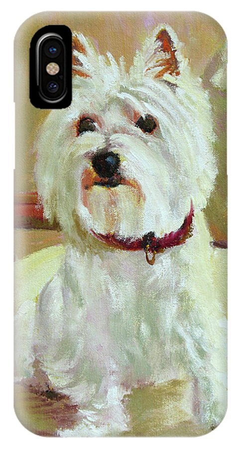 Pet IPhone X Case featuring the painting Schatzie by Keith Burgess