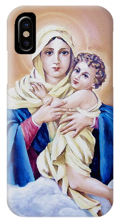 Religious IPhone Case featuring the painting Schoenstat-tribute by Natalia Tejera