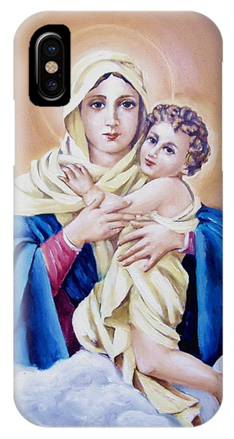 Religious IPhone X / XS Case featuring the painting Schoenstat-tribute by Natalia Tejera