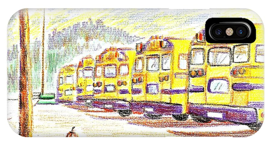 School Bussiness IPhone X Case featuring the mixed media School Bussiness by Kip DeVore