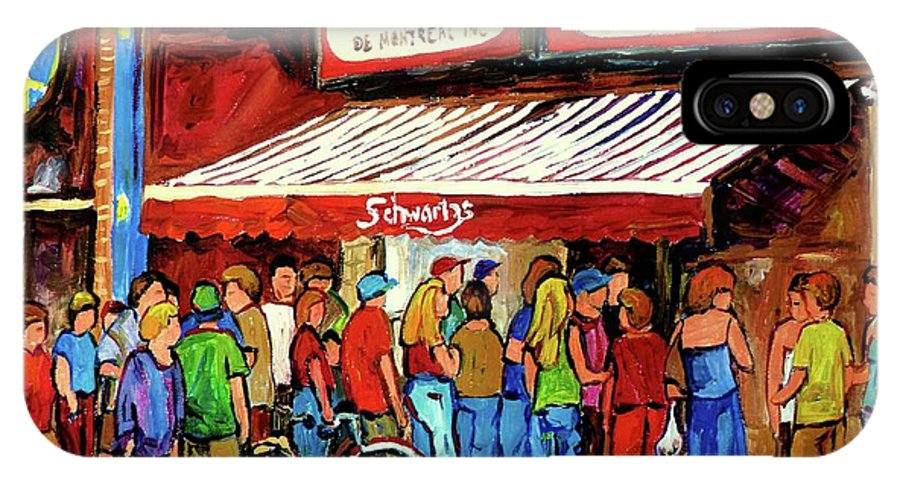 Schwartz Deli IPhone X Case featuring the painting Schwartzs Deli Lineup by Carole Spandau