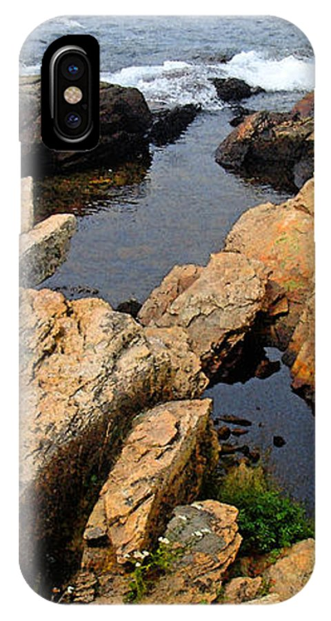 Landscape IPhone X Case featuring the photograph Scoodic Tidepool by Peter Muzyka