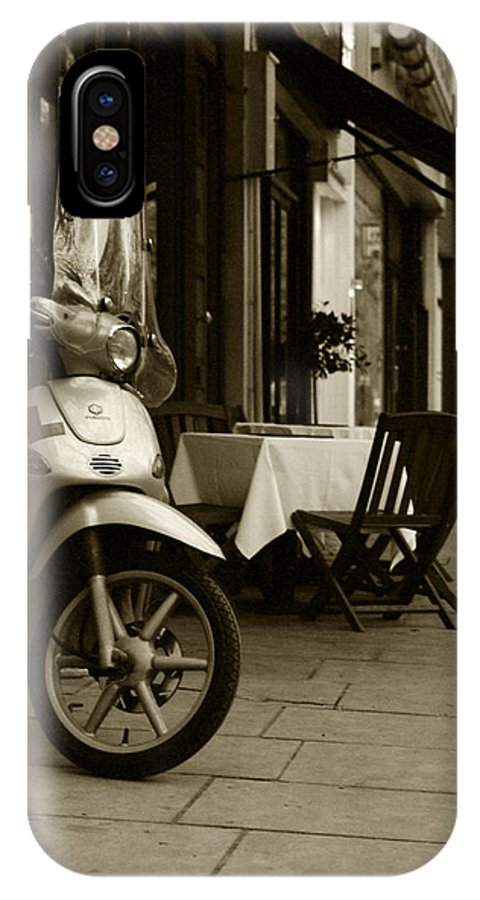 Scooter IPhone X Case featuring the photograph Scooter Cafe by Ayesha Lakes