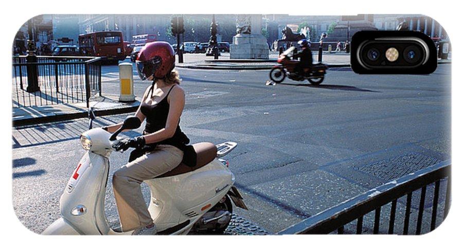 Helmet Gloves Visor Motor Balance Balanced Transportation Scoote IPhone X Case featuring the photograph Scooter Girl by Carl Purcell
