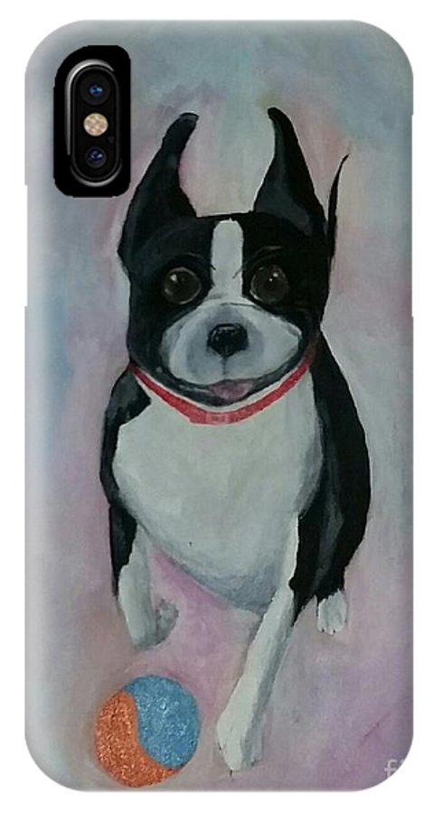 Boston Terrier IPhone X Case featuring the painting Scooter by Karen Hamby