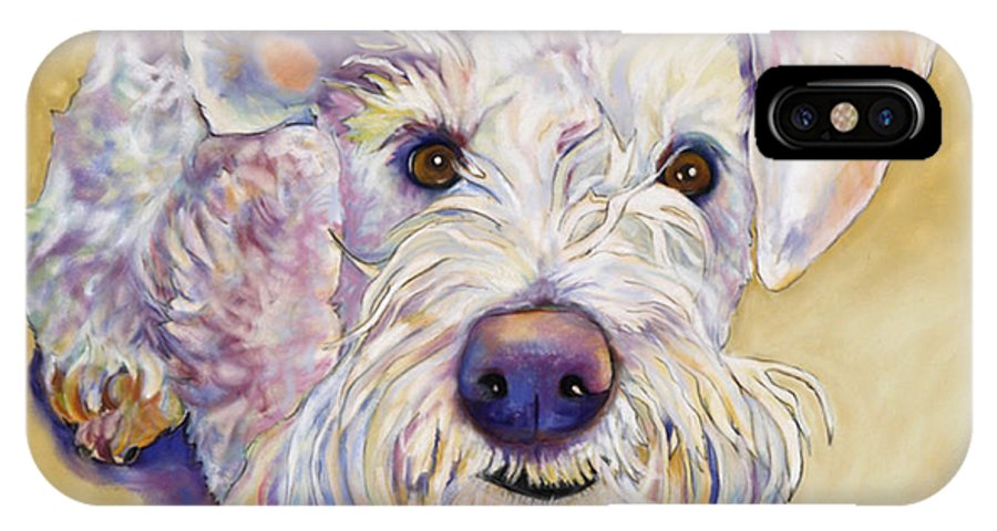 Schnauzer IPhone X Case featuring the pastel Scooter by Pat Saunders-White