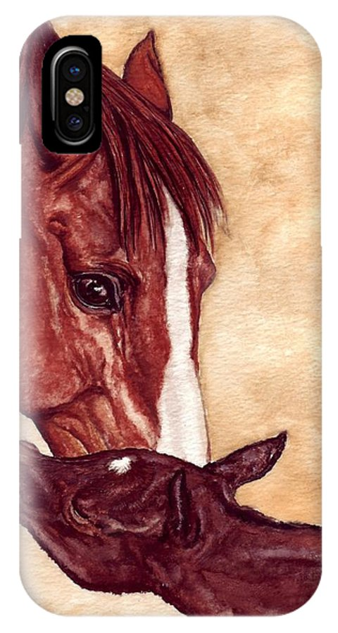 Horse IPhone X Case featuring the painting Scootin by Kristen Wesch