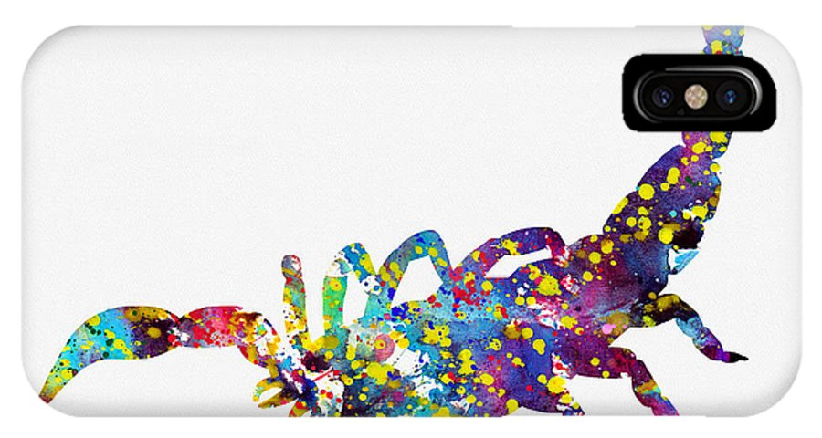 Scorpion IPhone X Case featuring the digital art Scorpion-colorful by Erzebet S