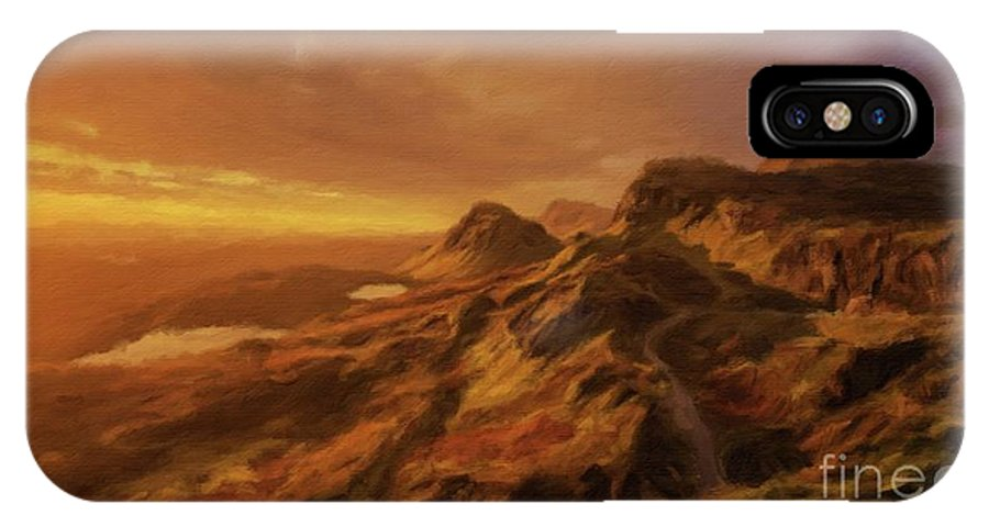 Landscape IPhone X Case featuring the painting Scotland, My Home by Sarah Kirk