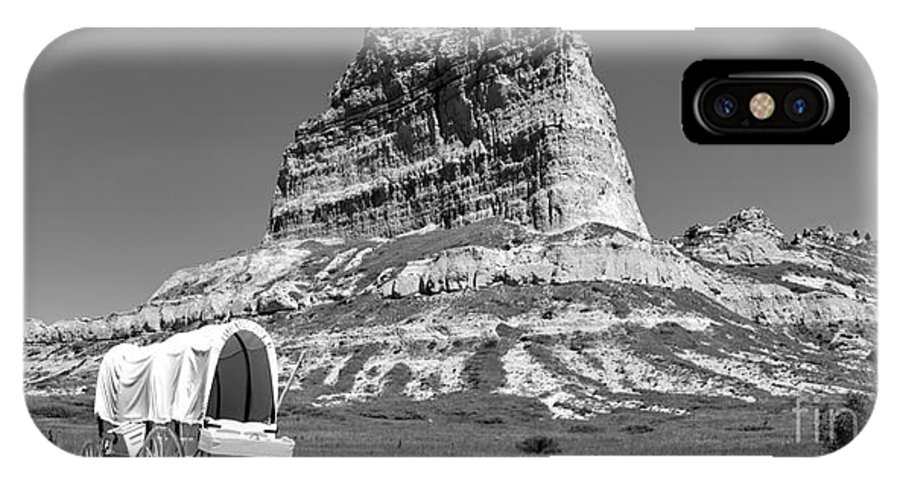 Black And White IPhone X Case featuring the photograph Scots Bluff Black And White by Adam Jewell