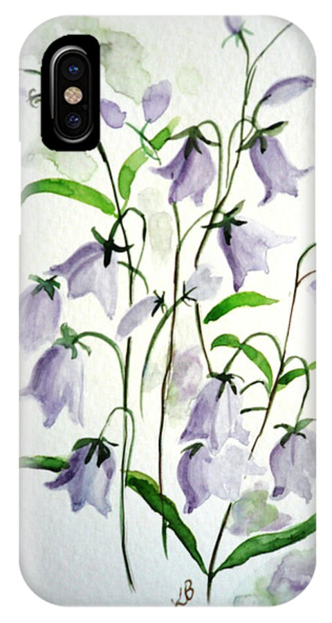 Blue Bells Hare Bells Purple Flower Flora IPhone X Case featuring the painting Scottish Blue Bells by Karin Dawn Kelshall- Best