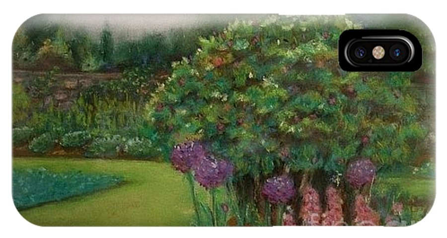 Landscape IPhone X Case featuring the painting Scottish Garden by M J Venrick