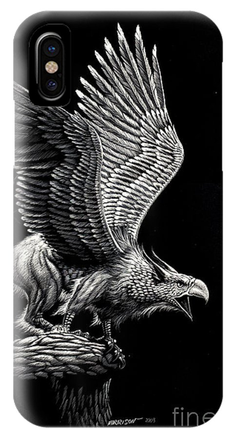 Griffon IPhone X Case featuring the drawing Screaming Griffon by Stanley Morrison