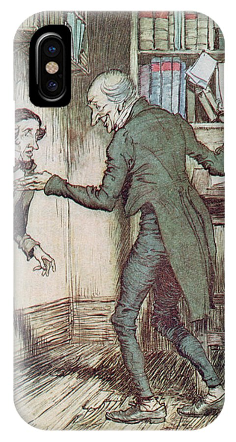 Arthur Rackham IPhone X / XS Case featuring the drawing Scrooge And Bob Cratchit by Arthur Rackham