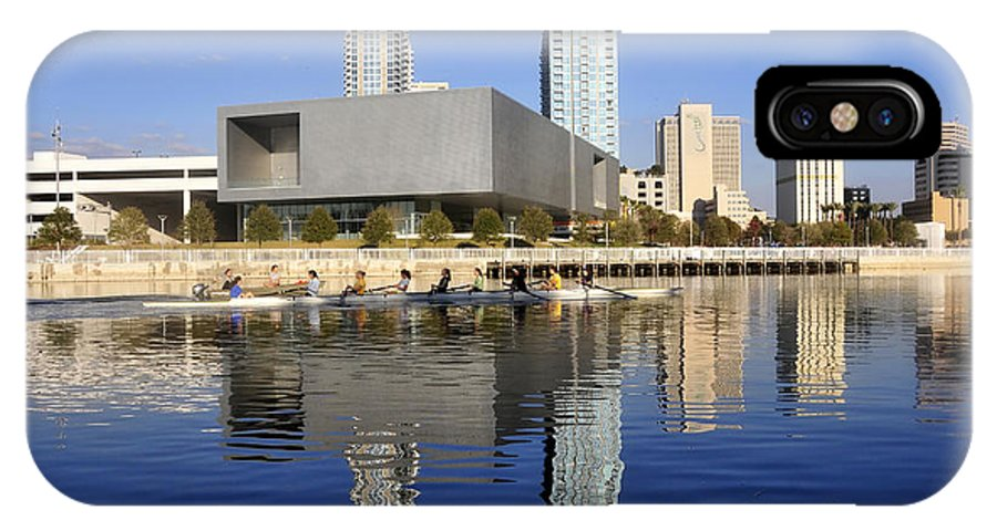 Tampa Bay Florida IPhone X Case featuring the photograph Sculling By The Tampa Bay Art Center by David Lee Thompson