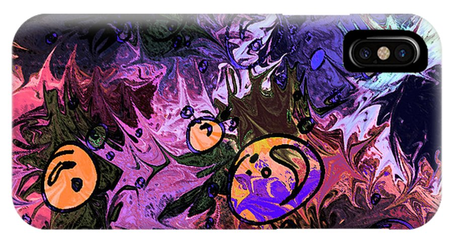 Abstract IPhone X Case featuring the digital art Sea Creatures by Rachel Christine Nowicki