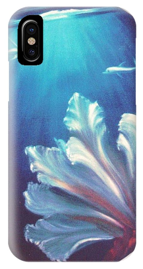 Underwater IPhone X Case featuring the painting Sea Fan by Dina Holland