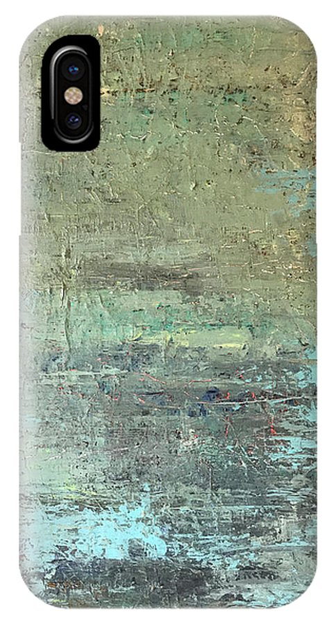 John Cammarano Abstract Painting Green Blue IPhone X Case featuring the painting Sea Foam by John Cammarano