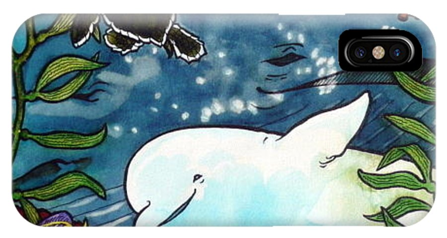 Whale IPhone X Case featuring the painting Sea Fun by Jill Iversen