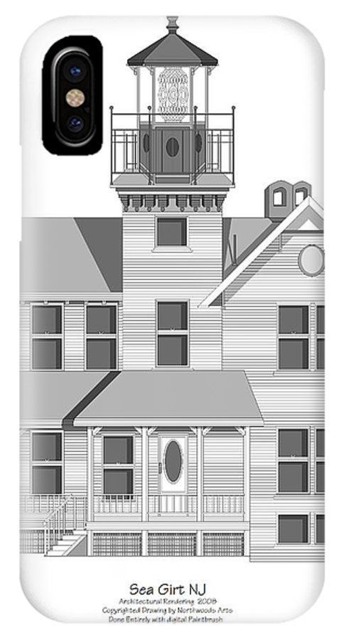 Lighthouse IPhone Case featuring the painting Sea Girt New Jersey Architectural Drawing by Anne Norskog