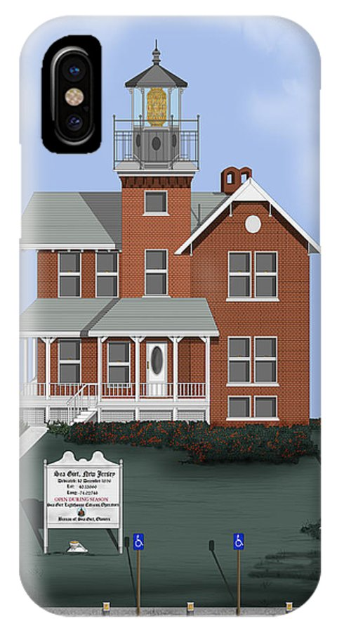 Lighthouse IPhone X Case featuring the painting Sea Girt New Jersey by Anne Norskog