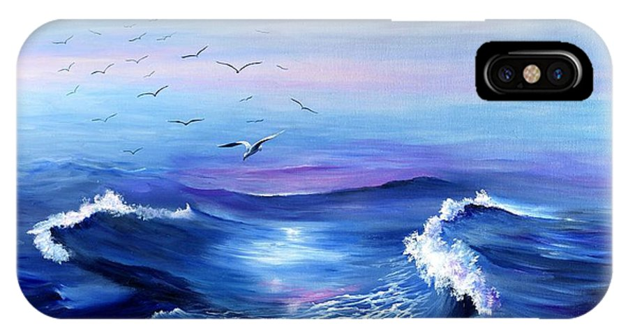 Seascape IPhone X Case featuring the painting Sea Gulls Surf by MJ Cooper