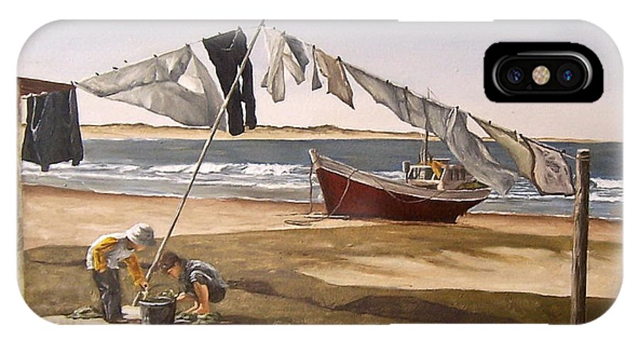 Kids Seascape Boat Painting Portrait Figurative Seascape Sea IPhone X Case featuring the painting Sea Kids by Natalia Tejera
