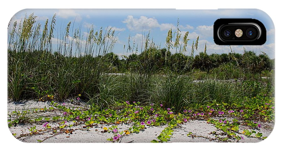 Beach IPhone X Case featuring the photograph Sea Oats And Blooming Cross Vine by Barbara Bowen