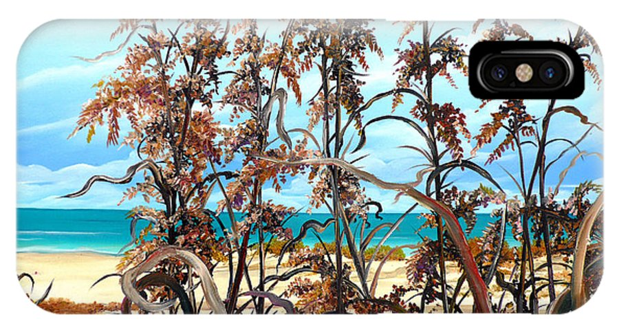 Ocean Painting Sea Oats Painting Beach Painting Seascape Painting Beach Painting Florida Painting Greeting Card Painting IPhone Case featuring the painting Sea Oats by Karin Dawn Kelshall- Best