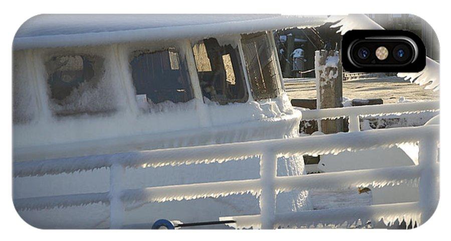 Fishing IPhone X Case featuring the photograph Sea Spray Ice by Faith Harron Boudreau