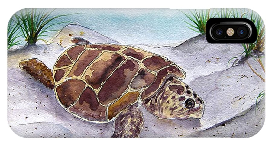 Sea Turtle IPhone X Case featuring the painting Sea Turtle 2 by Derek Mccrea