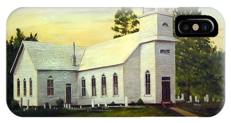 Church IPhone X Case featuring the painting Seaford Zion Methodist Church by Anne Kushnick