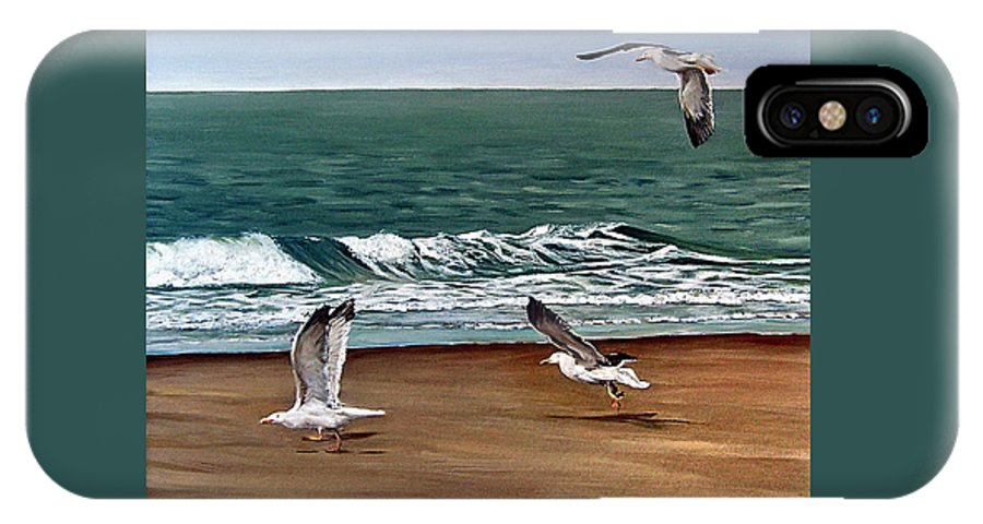 Seascape IPhone Case featuring the painting Seagulls 2 by Natalia Tejera