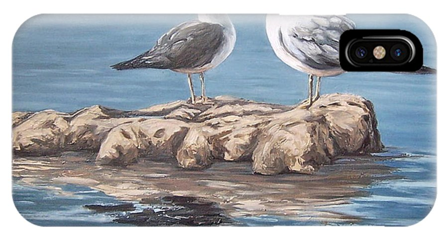 Seagulls Sea Seascape Water Bird IPhone Case featuring the painting Seagulls In The Sea by Natalia Tejera